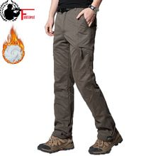 Men Cargo Pant Winter Thick Warm Pants Full Length Multi Pocket Elastic Waist Fleece Lined Military Baggy Tactical Trouser Male