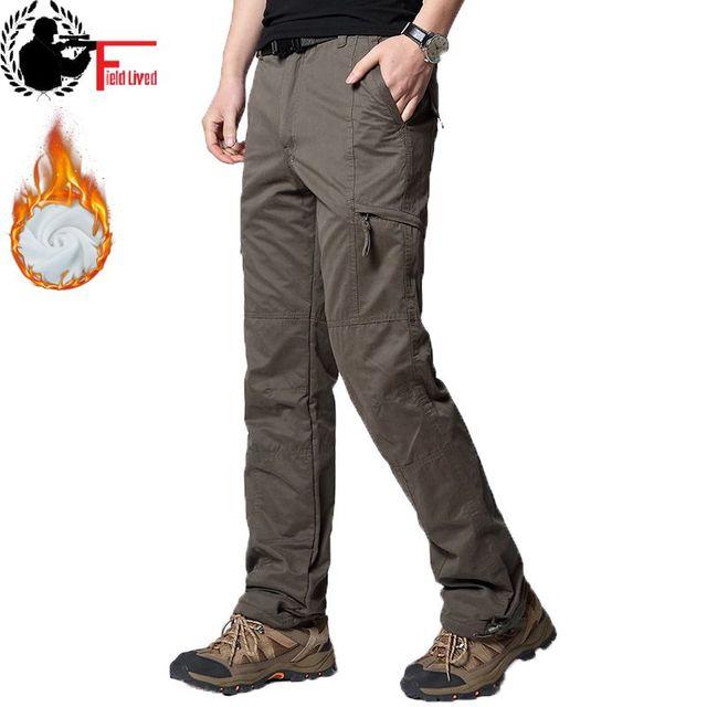 Uomini Cargo Pant Inverno Caldo di Spessore Pantaloni di Lunghezza Completa Multi Tasca Elastico In Vita Pile Foderato Larghi Militare Tattico Pantaloni di Sesso Maschile