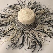 Casual New Handmade Women Straw Sun Hat Large Wide Brim Girl High Quality Natural Raffia Panama Beach Straw Sun Caps For Holiday