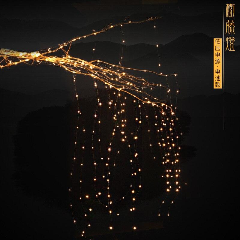 Cross Border LED Tree Lights Star Light String Indoor Rattan Lighting Chain Decorative Lights Outdoor Waterproof Battery-Colorfu