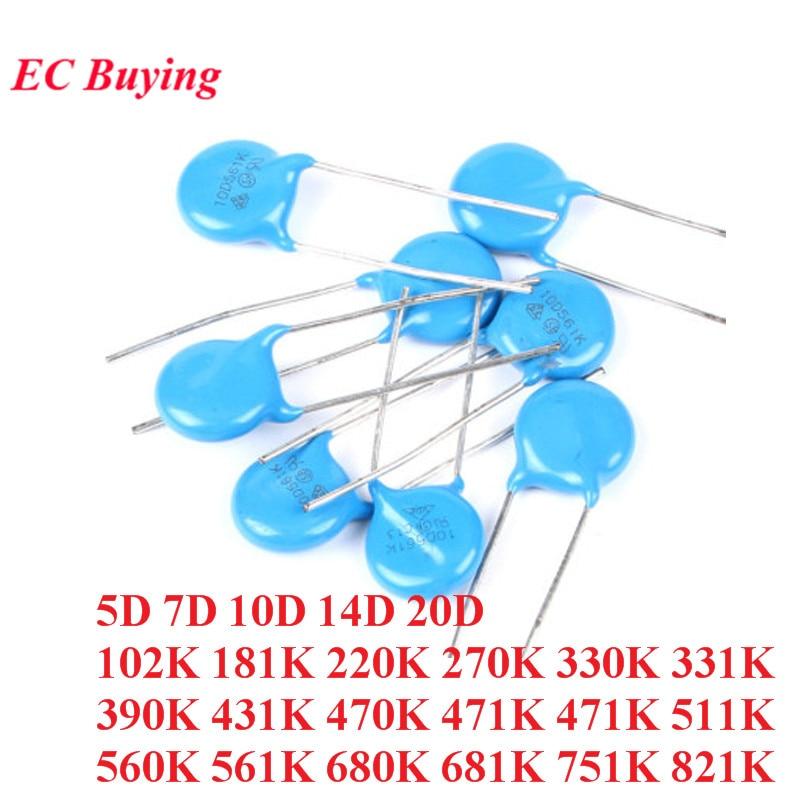 20pcs Varistor Resistor 5D 7D 10D 14D 20D 102K 181K 220K 270K 330K 331K 390K 431K 470K 471K 471K 511K 560K 561K 680K 681K 751K
