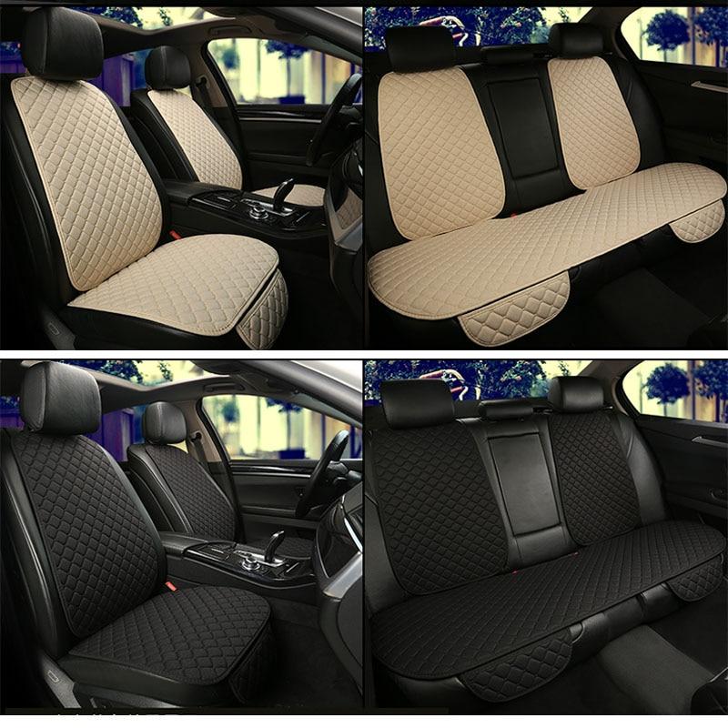 Grande taille lin housse de siège de voiture protecteur lin avant ou arrière siège arrière coussin coussin tapis dossier pour Auto intérieur camion Suv Van