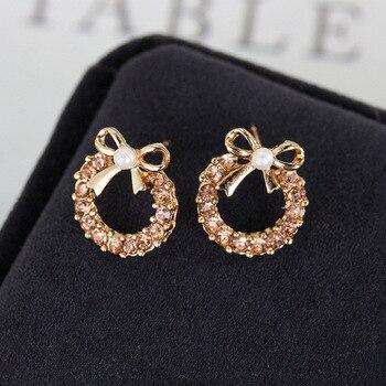 Brincos Para As Mulheres Real Earing 2019 Japanese And Korean Fashion New Elegant Bow Earrings Zircon Ladies Banquet Wholesale  2