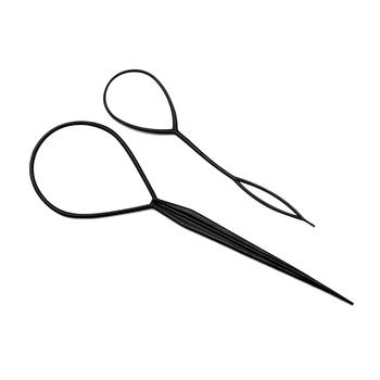 2019 2 sztuk kucyk Creator Braider Maker urządzenie do stylizacji plastikowe ucho urządzenie do stylizacji s czarny grad klip urządzenie do stylizacji pętli narzędzia moda tanie i dobre opinie CN (pochodzenie) Plastic Hair Braid Maker Oplatarce 1 large and 1 small