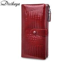 DICIHAYA Zipper portfel kobiety prawdziwej skóry luksusowe markowe portfele długie krowy skórzane damskie torebki Alligator kobiet monety kiesy
