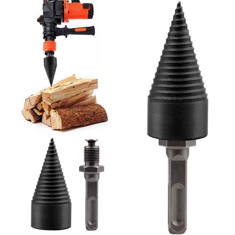 Chromium Manganese Titanium Firewood Splitter Step Drill Bit Metric 10mm Round Shank 32mm Diameter Wood Splitter Screw Cones Log Wood Breaker Tool