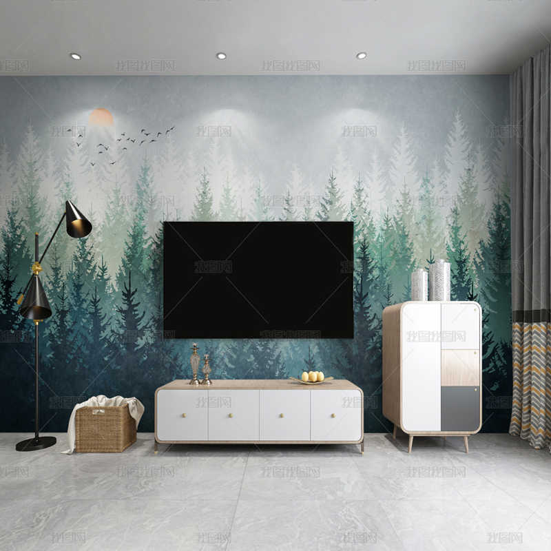Hand Drawing Forest Custom Jointless Mural Wallpapers Living Room Bedroom Tv Background Home Decor Silk Cloth Wall Paper Wallpapers Aliexpress