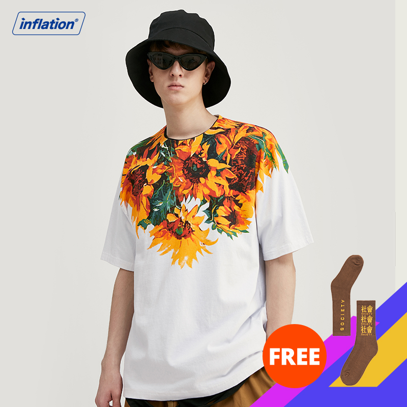 INFLATION Men Tshirt Flowers And Plants Printing Oversized Loose Fit Tshirt For Men Cotton Harajuku Men Funny T Shirts 1152S20