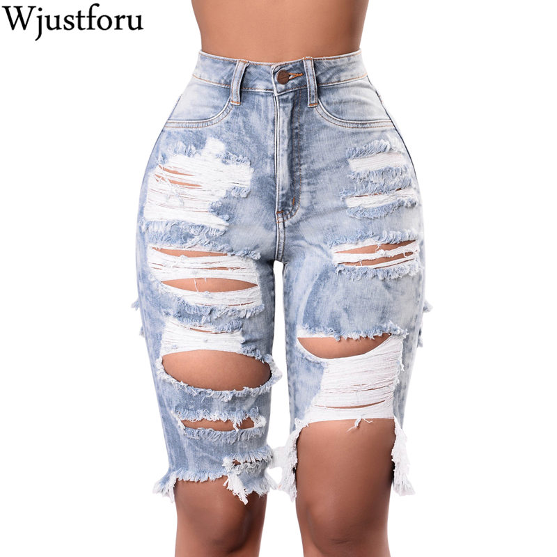 Wjustforu Sexy Ripped Denim Pants Women Holes Skinny Jean Femme High Waist Pants Women Casual Jean Pants Knee-Length Vestidos