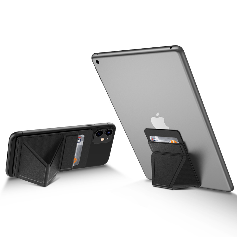Universal Tablet Stand With Card Solt For IPad Phone Case Holder PU Kickstand Folded Hand Strap Stand Accessories 10.5*6.5cm