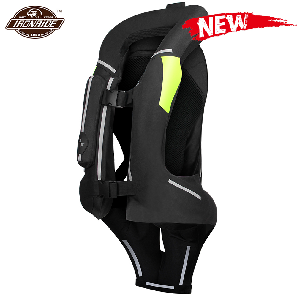 NEW Motorcycle Airbag Vest Men Motorcycle Jacket Reflective Motocross Air Bag Moto Vest Protective Black Fluorescent S-3XL