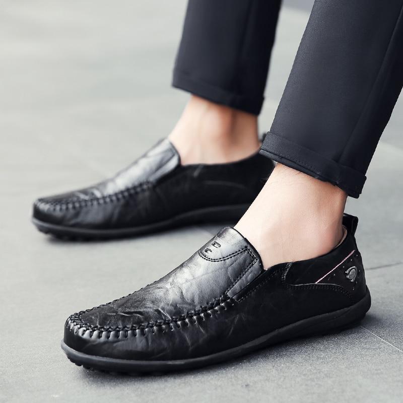 Sapatos Masculino Scarpe Uomo Summer Genuine Leather Casual Slip On Black Leisure Chaussure Homme