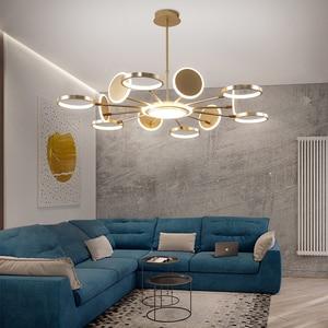 Image 2 - Iluminación LED de araña oro moderno, 50W, 66W, 98W, negro, para sala de estar, dormitorio, decoración del hogar, ajuste de lámpara, 3 colores