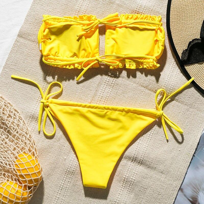 Ha3d7c36c866e41adb236c30181446252B Peachtan Sexy pink swimwear women bathing suit Bandeau bikinis 2019 mujer Micro swimsuit female Push up two-piece suit summer
