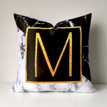 christmas decorative pillows marble cushion cover sofa cushion set gold English alphabet pillowcase peach pad pillow case cover