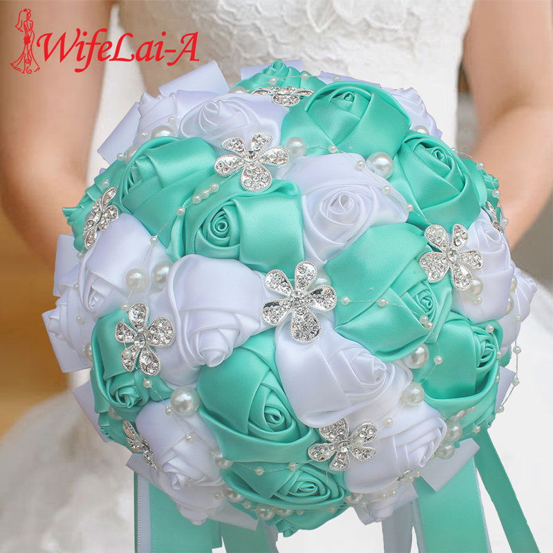 WifeLai-A Wedding Flowers Bridal Flower Bouquets Crystal Bridesmaid Bouquet Buque Noiva Ribbon Rose Holding Flowers W224A-2
