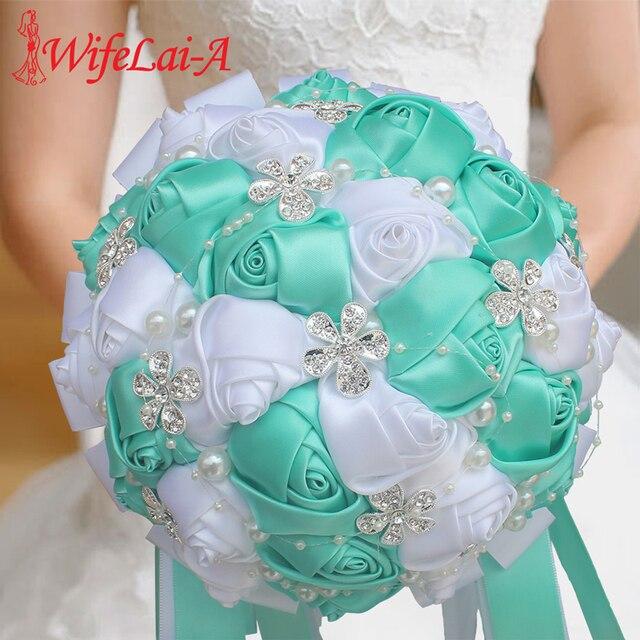 WifeLai חתונה פרחי כלה פרח זרי קריסטל שושבינה זר Buque Noiva סרט עלה מחזיק פרחים W224A 2