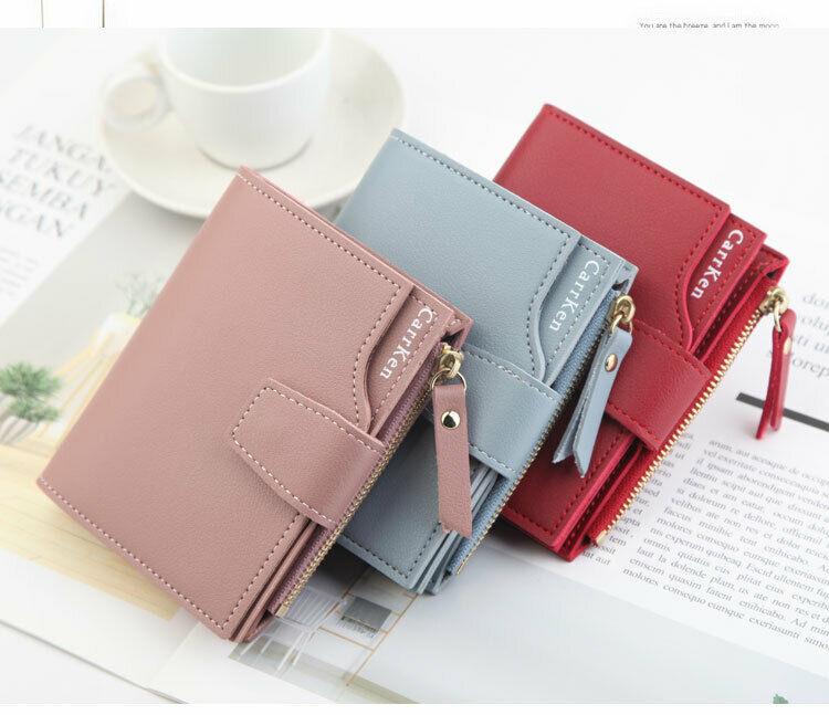 New Women's Wallet PU Leather Clutch Bag Hasp Small Coin Pocket Purse Short Purse Handbag Short Zipper Card Holder 6Colors