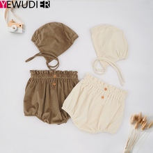 2020 Autumn Baby Shorts Newborn Toddlers Winter Pants Bubble Bloomers Baby Girls Pantalones Cortos Photography Outfit Hat Set