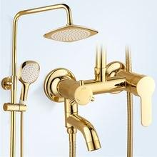 Набор для ванной комнаты насадка душа золотистая матовая потолочный