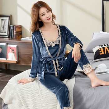 3PCS Sexy Thick Warm Gold Velvet Kimono Pajamas Sets for Women 2020 Winter Long Sleeve Cute Lace Sleepwear Homewear Pijama Mujer