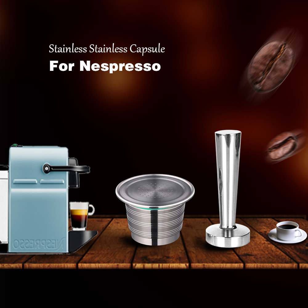 Refillable Nespresso Coffee Capsules Tamper Set Reusable Stainless Steel Espresso Pod Filter Rechargeable Nespresso Coffee Tool