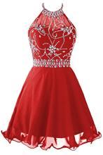 Женское шифоновое платье с бисером для выпускного вечера