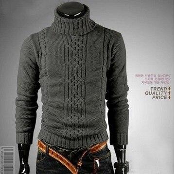 Men Winter Keep Warm Lead Sweater Irregular Twisting High Long Sleeve Thickening Coarse Sweater Men's Wear