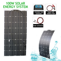 12v 100w 200w flexible solar panel system kits with charge controller for Caravan Motor Home Boat