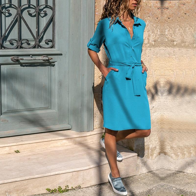 Office Lady Turn-down Collar Shirt Dress Three Quarter Sleeve Spring Women Dress Plus Size Casual Summer Dress Loose Vestidos