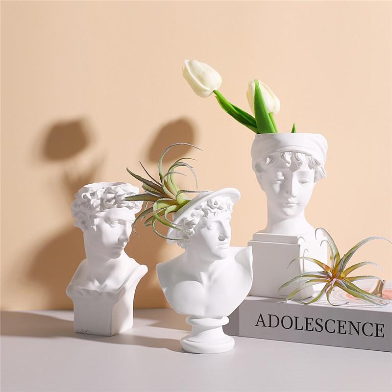 Resin Sculpture Head Flower Pot Nordic Art Plant Pots Figurines Home Decor Macetas Decorativas Flowerpot Garden Accessories New