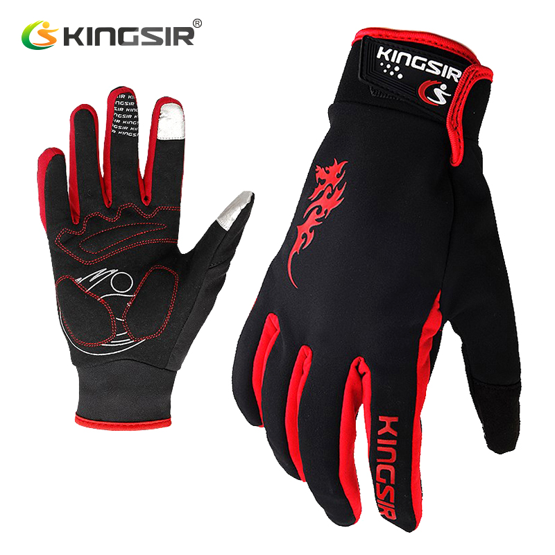 KINGSIR Winter Autumn Touch Screen Cycling Gloves Men Women Non slip Sport Bike Gloves Shockproof Full Finger Bicycle Gloves Cycling Gloves     - title=