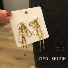 цена на S925 needle a two - wearing earrings women long style temperament pearl earrings metal tassel earrings design sense of pe