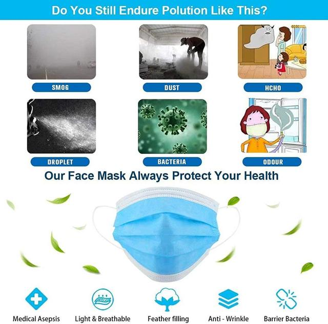 Safety Face Masks, Disposable Earrings Mask Filtering Breathable Beauty 3 Layers 4