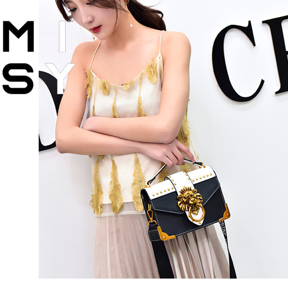 Ha3d88b6feb0d481faf78a02d9e33172eM - Fashion Metal Lion Head Mini Small Square Pack Shoulder Bag Crossbody Package Clutch Women  Wallet Female Handbags