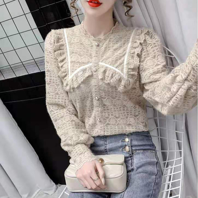 Women Spring Autumn Style Lace Blouses Shirts Lady Casual Long Sleeve Peter Pan Collar Lace Blusas Tops DF4013 2