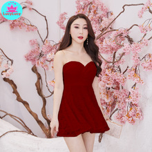 2019 nightclub women's sexy wrapped chest tight-fitting slim off-the-shoulder short tube top dress mesh shoulder form fitting dress