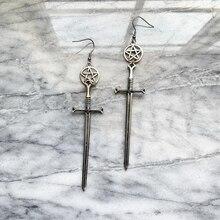 Wiccan Charm Earrings, Wicca, Pagan, Wiccan Tools, Sword, Pentagram, Moon Drop Earrings, Fashionable Womens Jewelry