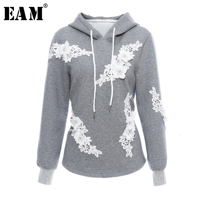 [EAM] Loose Fit Nailed Flower Split Army Green Sweatshirt New Hoded Long Sleeve Women Big Size Fashion Tide Spring 2020 1M981