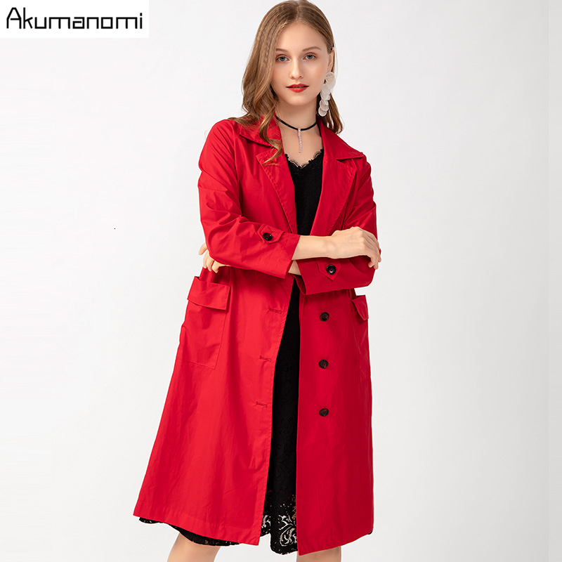Autumn Spring   Trench   Plus Size 5xl-l Red Casual Turn-down Collar Nine Quarter Sleeve Women's Coat Pocket Single Breasted Tops
