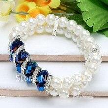 Fashion crystal glass imitation pearl Elastic Bracelets loose diy Copper Accessory beaded bracelet one piece gcb1150
