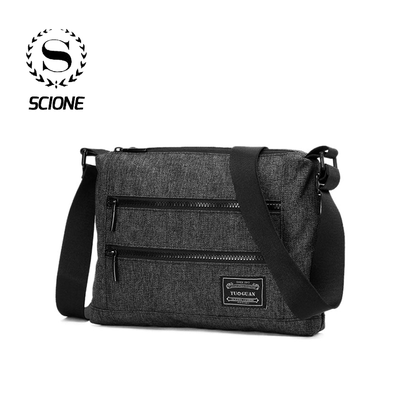 Scione Men Simple Solid Shoulder Bags Fashion Crossbody Casual Business Briefcases Canvas Student School Travel Messenger Pack