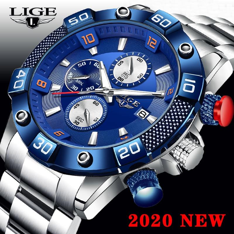 Relogio Masculino New LIGE Fashion Mens Watches Top Brand Luxury WristWatch Men Quartz Clock Blue Waterproof Chronograph Reloj