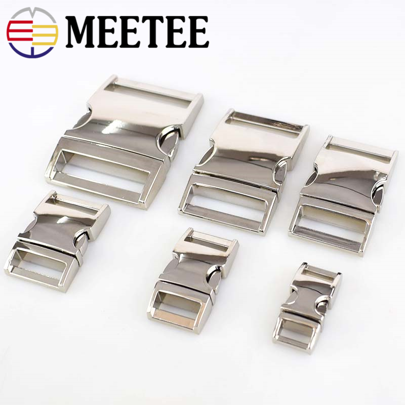 Meetee 2 4pcs 10 38mm Metal Side Release Curved Buckles for Paracord Bracelet Dog Collar Bags Belt Webbing Buckle Accessories in Buckles Hooks from Home Garden