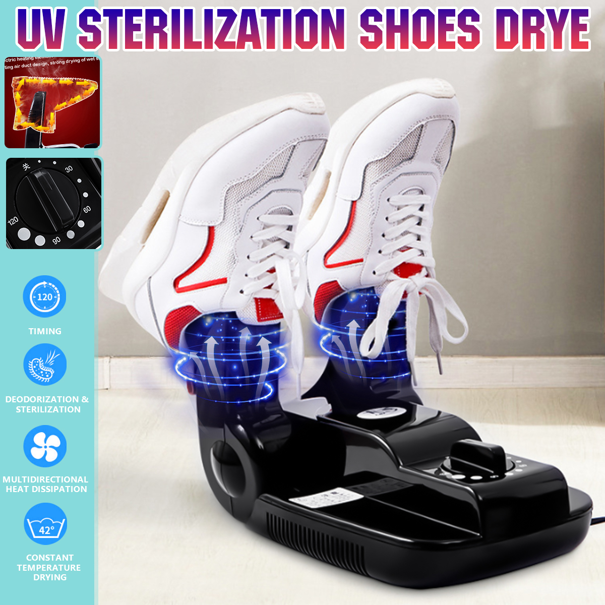Foldable Intelligent 150W Electric Shoes Dryer Foot Boot Odor UV Sterilization Household Telescopic Adjustable Deodorization