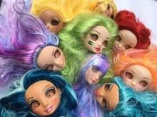 Real cílios arco-íris alta boneca brinquedo cabeça original acessórios da boneca diy plantio de cabelo maquiagem vestir boneca brinquedo 18mm olhos