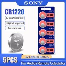 Batteria al litio di 5 pz/lotto Sony CR1220 CR 1220 ECR1220 GPCR1220 BR1220 LM1220 DL1220 3V per le batterie a bottone a distanza dell'orologio