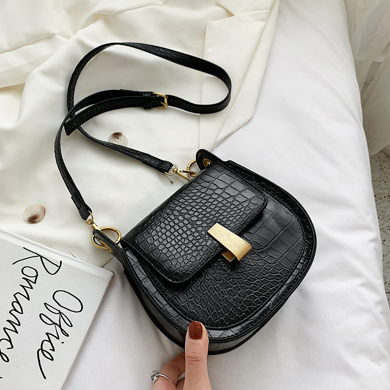 2020 new women's bag stone pattern shoulder Messenger bag ladies bag casual saddle bag fashion women bag purse