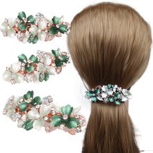 Vogue of new fund 2019 alloy with  manual coloured drawing or pattern drip han edition joker leaves hair clips