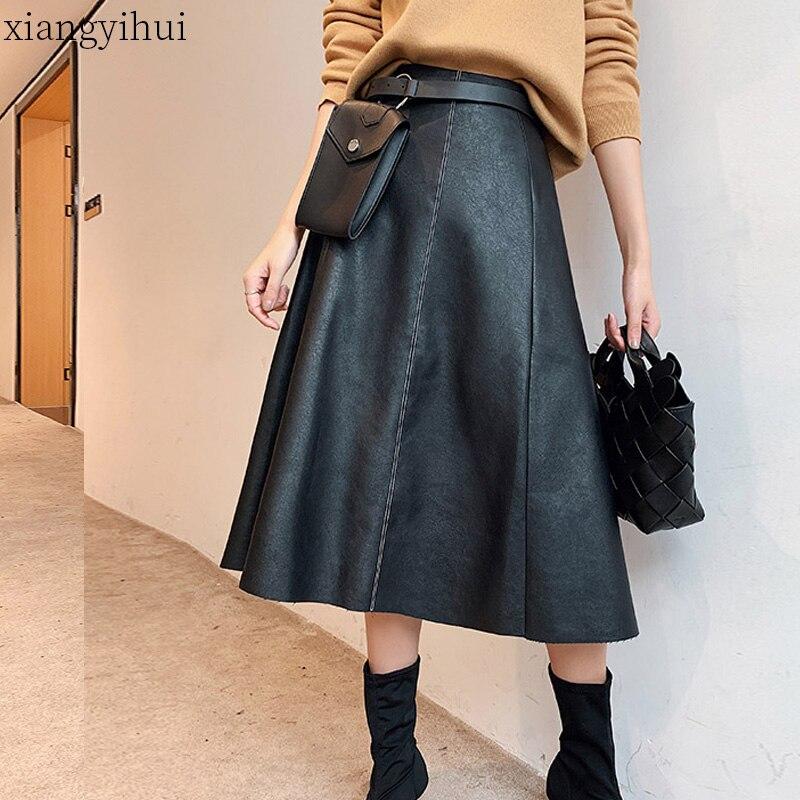 Модная офисная юбка солнце для женщин из искусственной кожи, черные элегантные юбки средней длины, Женская Высококачественная Юбка До Колена с сумкой на талии on AliExpress